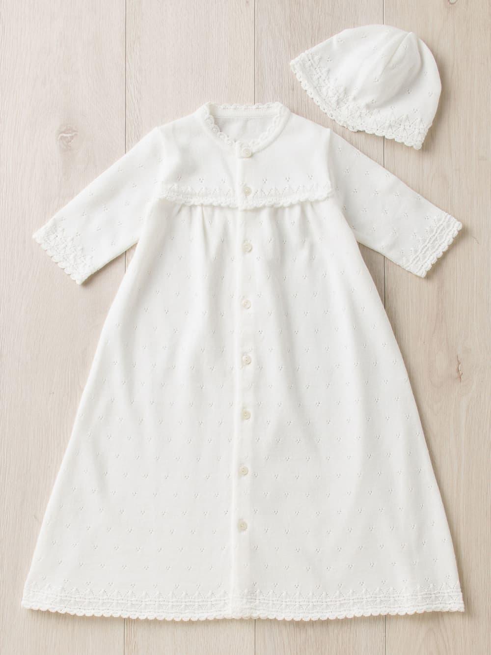 【ANGELIEBE/エンジェリーベ】 【日本製】ギフトボックス付新生児ニットドレス&帽子 2点セット ホワイト 50-70